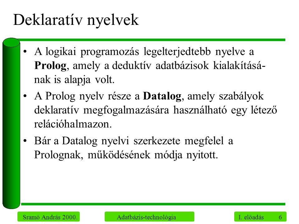 6 Sramó András 2000. Adatbázis-technológia I. előadás Deklaratív nyelvek A logikai programozás legelterjedtebb nyelve a Prolog, amely a deduktív adatb