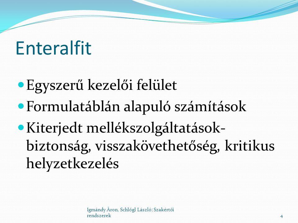Enteralfit Egyszerű kezelői felület Formulatáblán alapuló számítások Kiterjedt mellékszolgáltatások- biztonság, visszakövethetőség, kritikus helyzetke