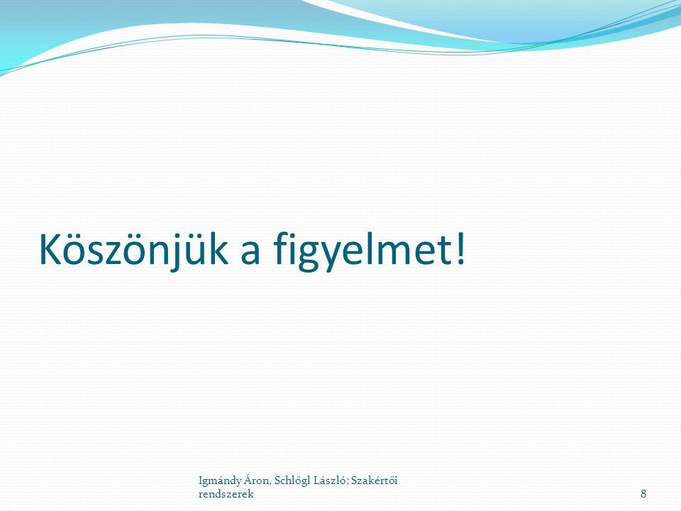 Köszönjük a figyelmet! 8 Igmándy Áron, Schlőgl László; Szakértői rendszerek