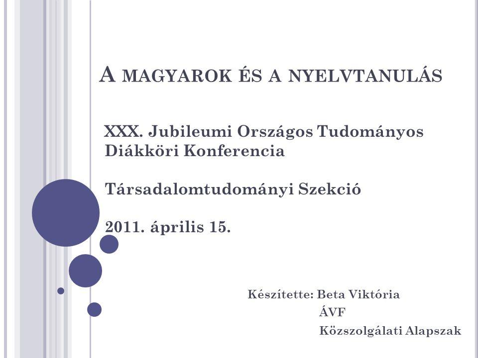 A MAGYAROK ÉS A NYELVTANULÁS Készítette: Beta Viktória ÁVF Közszolgálati Alapszak XXX.