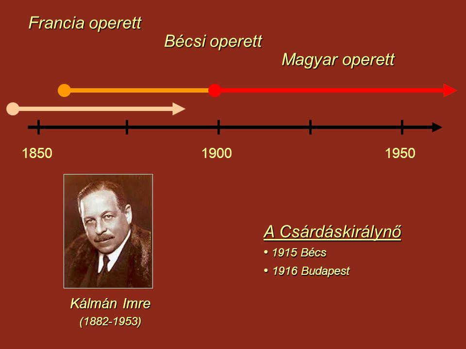 Francia operett Magyar operett Bécsi operett 185019001950 Kálmán Imre (1882-1953) A Csárdáskirálynő 1915 Bécs 1915 Bécs 1916 Budapest 1916 Budapest