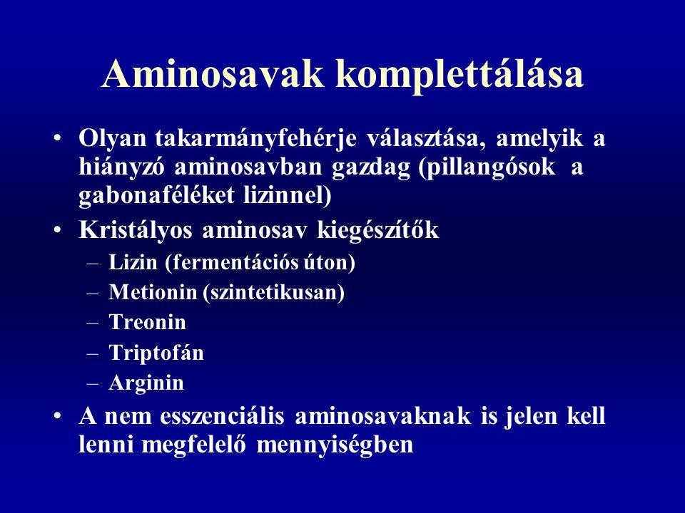 Aminosavak komplettálása Olyan takarmányfehérje választása, amelyik a hiányzó aminosavban gazdag (pillangósok a gabonaféléket lizinnel) Kristályos ami