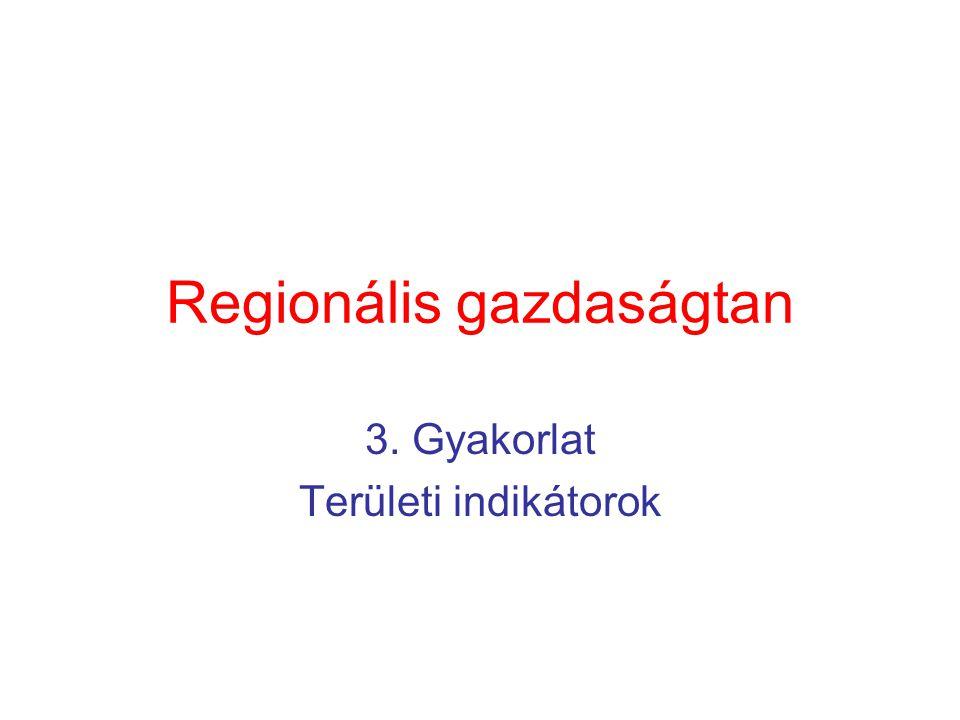 Regionális gazdaságtan 3. Gyakorlat Területi indikátorok