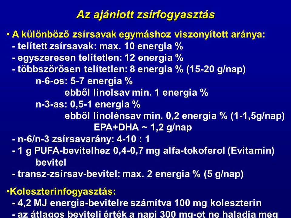 Az ajánlott zsírfogyasztás A különböző zsírsavak egymáshoz viszonyított aránya: - telített zsírsavak: max. 10 energia % - egyszeresen telítetlen: 12 e