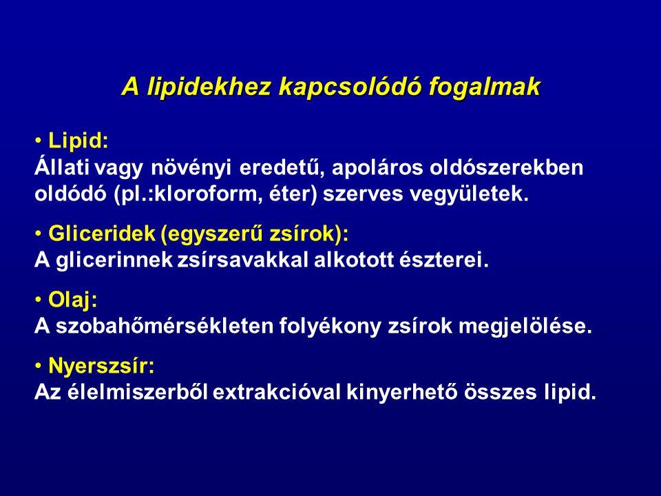 A lipidekhez kapcsolódó fogalmak Lipid: Állati vagy növényi eredetű, apoláros oldószerekben oldódó (pl.:kloroform, éter) szerves vegyületek. Gliceride