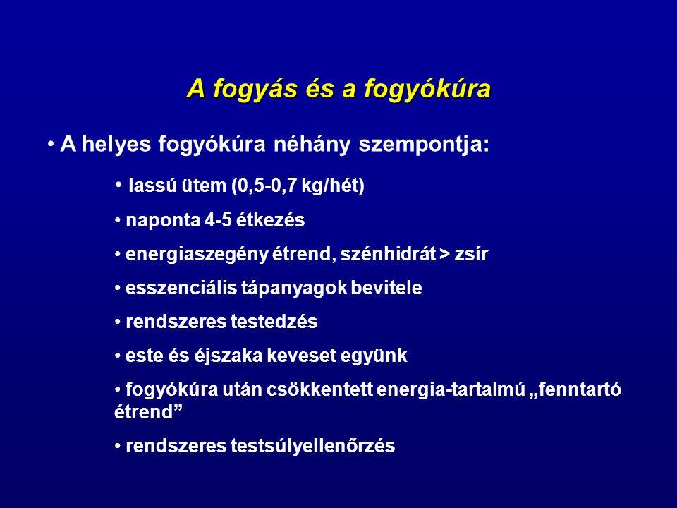 A fogyás és a fogyókúra A helyes fogyókúra néhány szempontja: lassú ütem (0,5-0,7 kg/hét) naponta 4-5 étkezés energiaszegény étrend, szénhidrát > zsír