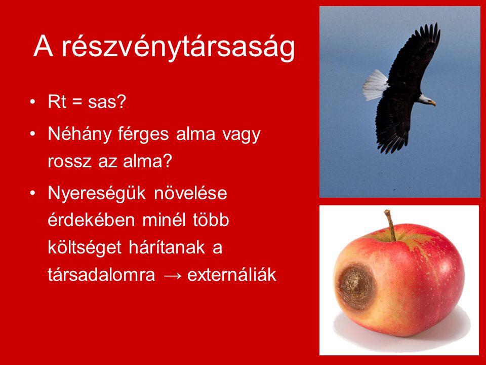 A részvénytársaság Rt = sas. Néhány férges alma vagy rossz az alma.