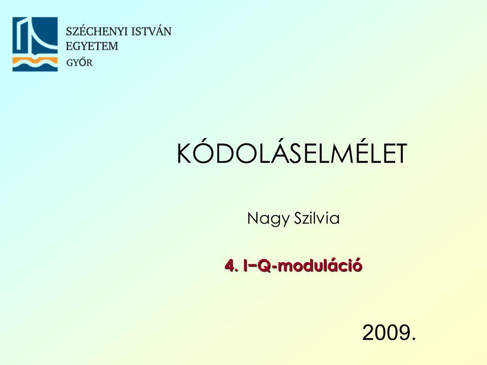Széchenyi István Egyetem 12 I−Q-moduláció Spektrum és konstelláció Digitális modulációk I−Q-modulátor I−Q- demodulátor Konstelláció- elemzés Bithibaarány Spektrális tulajdonságok Impulzus-amplitúdómoduláció (Pulse Amplitude Modulation) ha a vivőjel: A 0 sin( ω 0 t + φ 0 ) az i-edik szimbólumnak megfelelő jelszakasz: y i ( t ) = a i  A 0 sin( ω 0 t + φ 0 ) az a i lehet például a 0 = 0, a 1 = 1; Digitális moduláció: PAM KÓDOLÁSELMÉLET – I−Q-moduláció