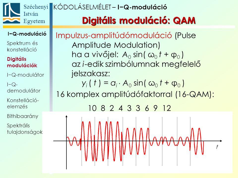 Széchenyi István Egyetem 17 Digitális moduláció: QAM Impulzus-amplitúdómoduláció (Pulse Amplitude Modulation) ha a vivőjel: A 0 sin( ω 0 t + φ 0 ) az