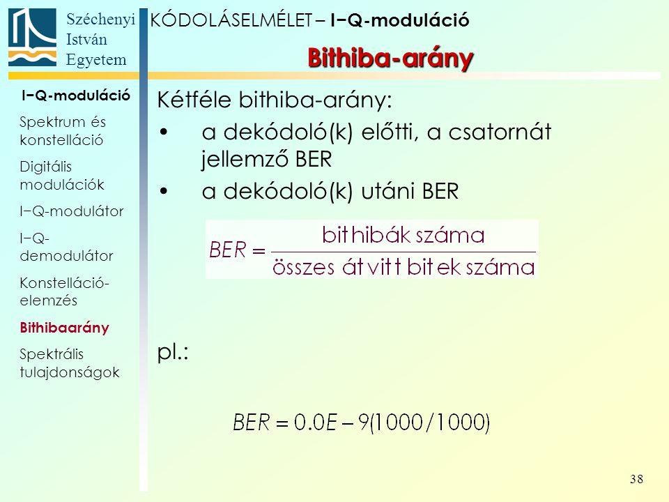 Széchenyi István Egyetem 38 Bithiba-arány KÓDOLÁSELMÉLET – I−Q-moduláció I−Q-moduláció Spektrum és konstelláció Digitális modulációk I−Q-modulátor I−Q