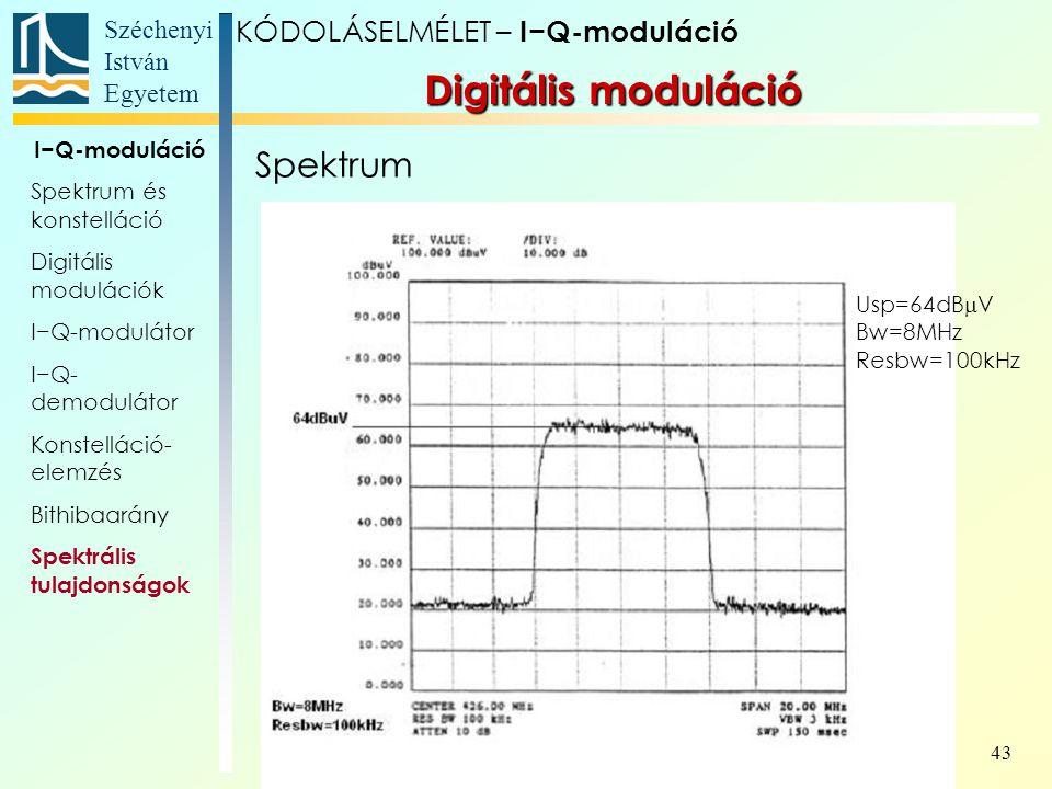 Széchenyi István Egyetem 43 Spektrum Digitális moduláció KÓDOLÁSELMÉLET – I−Q-moduláció I−Q-moduláció Spektrum és konstelláció Digitális modulációk I−
