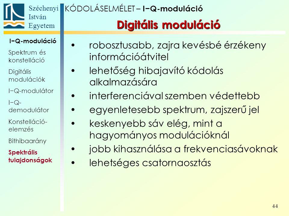 Széchenyi István Egyetem 44 robosztusabb, zajra kevésbé érzékeny információátvitel lehetőség hibajavító kódolás alkalmazására interferenciával szemben