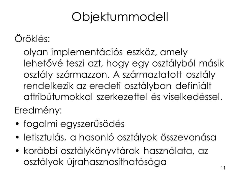 11 Objektummodell Öröklés: olyan implementációs eszköz, amely lehetővé teszi azt, hogy egy osztályból másik osztály származzon.