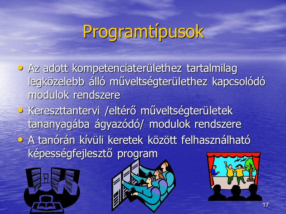 17 Programtípusok Az adott kompetenciaterülethez tartalmilag legközelebb álló műveltségterülethez kapcsolódó modulok rendszere Az adott kompetenciater