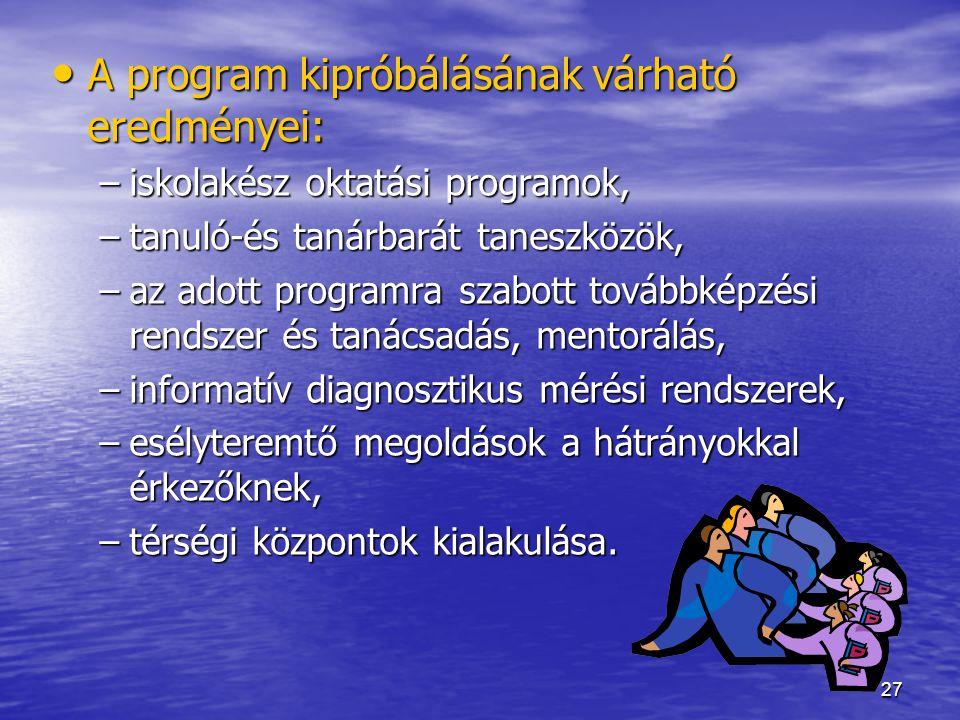 27 A program kipróbálásának várható eredményei: A program kipróbálásának várható eredményei: –iskolakész oktatási programok, –tanuló-és tanárbarát tan