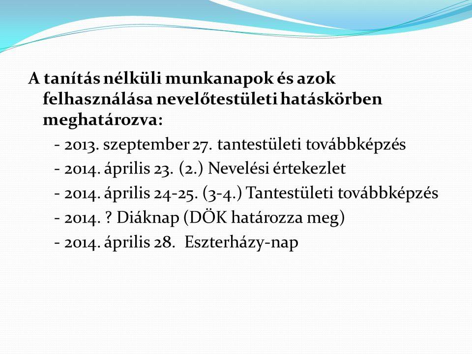 A tanítás nélküli munkanapok és azok felhasználása nevelőtestületi hatáskörben meghatározva: - 2013.