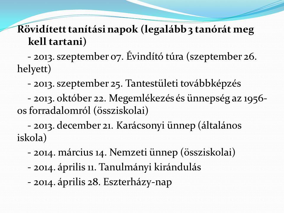 Rövidített tanítási napok (legalább 3 tanórát meg kell tartani) - 2013.