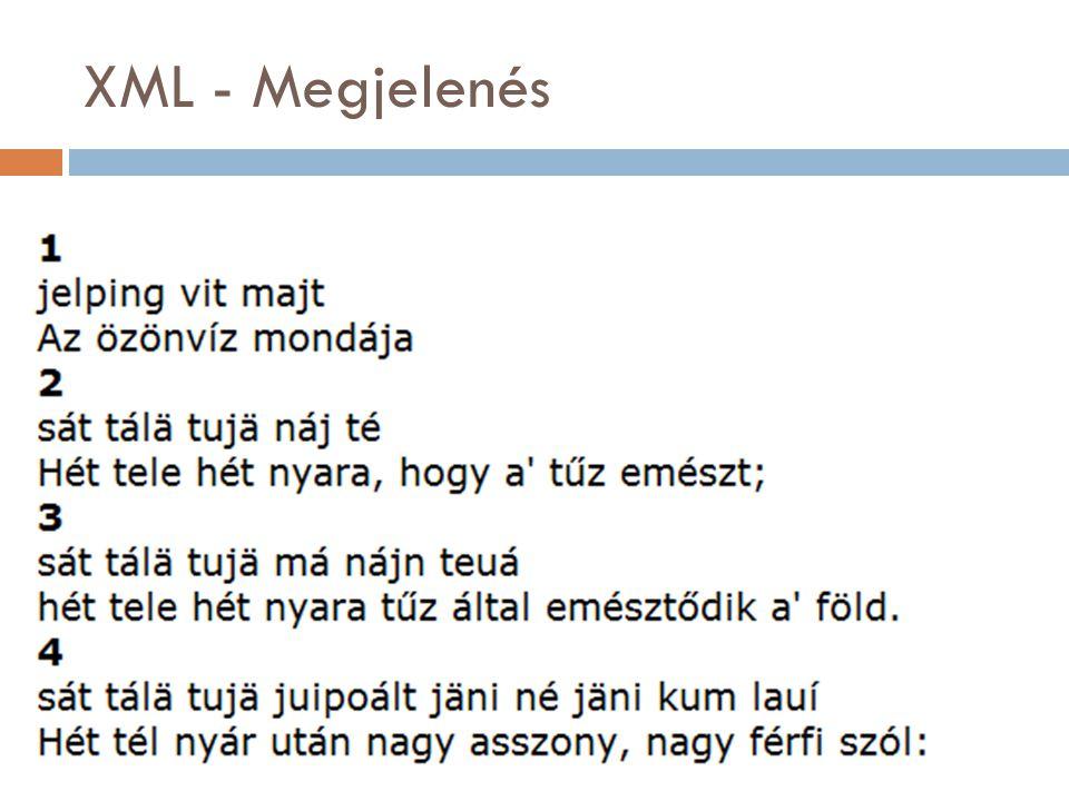 XML - Megjelenés