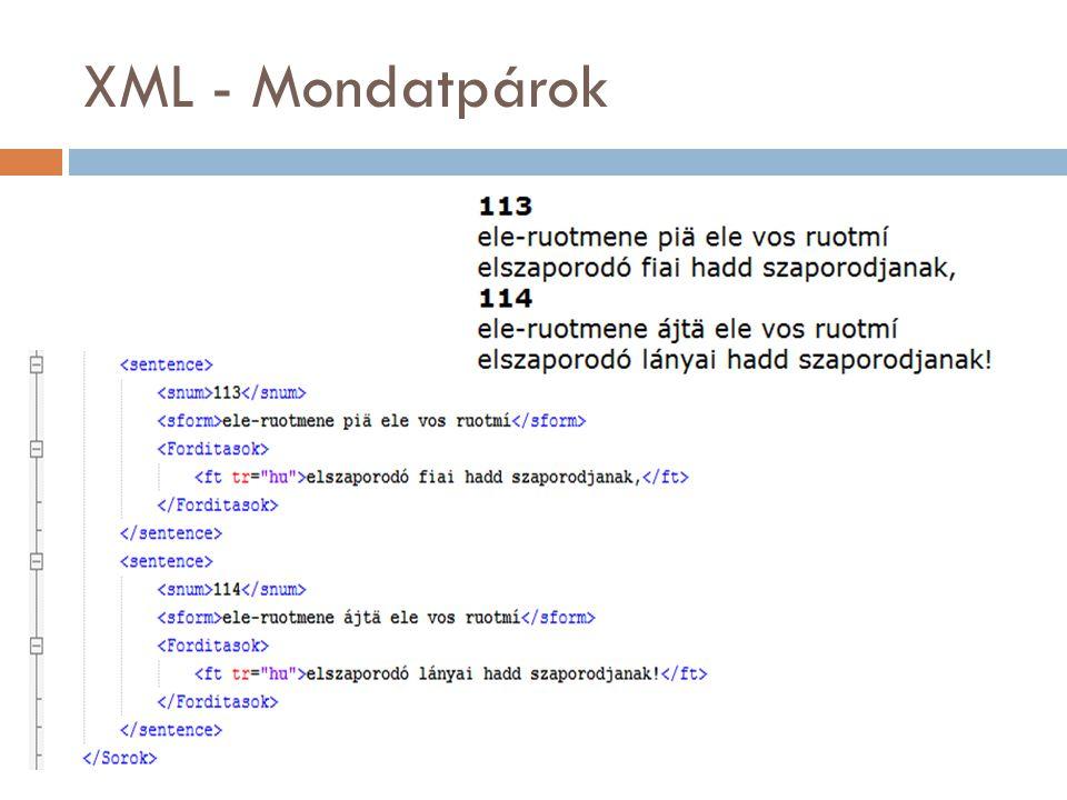 XML - Mondatpárok