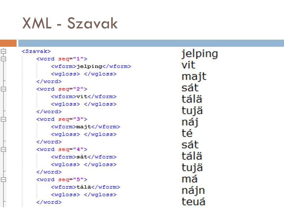 XML - Szavak