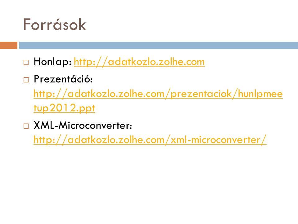 Források  Honlap: http://adatkozlo.zolhe.comhttp://adatkozlo.zolhe.com  Prezentáció: http://adatkozlo.zolhe.com/prezentaciok/hunlpmee tup2012.ppt http://adatkozlo.zolhe.com/prezentaciok/hunlpmee tup2012.ppt  XML-Microconverter: http://adatkozlo.zolhe.com/xml-microconverter/ http://adatkozlo.zolhe.com/xml-microconverter/