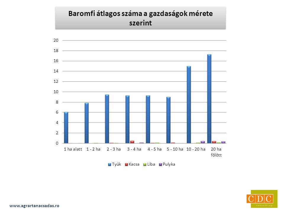 www.agrartanacsadas.ro Baromfi átlagos száma a gazdaságok mérete szerint