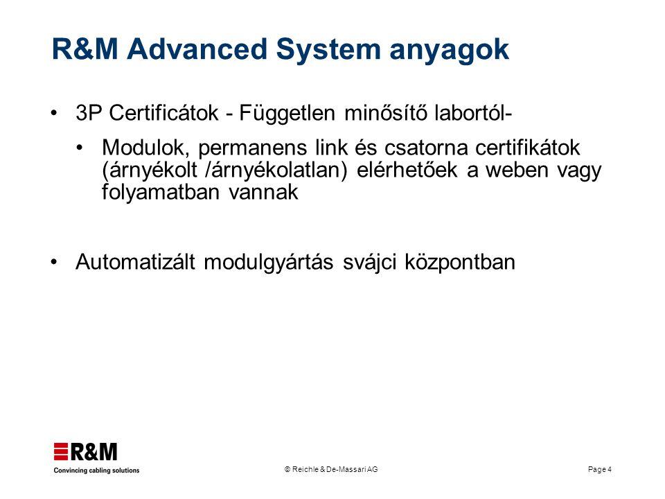 © Reichle & De-Massari AG Page 4 R&M Advanced System anyagok 3P Certificátok - Független minősítő labortól- Modulok, permanens link és csatorna certif