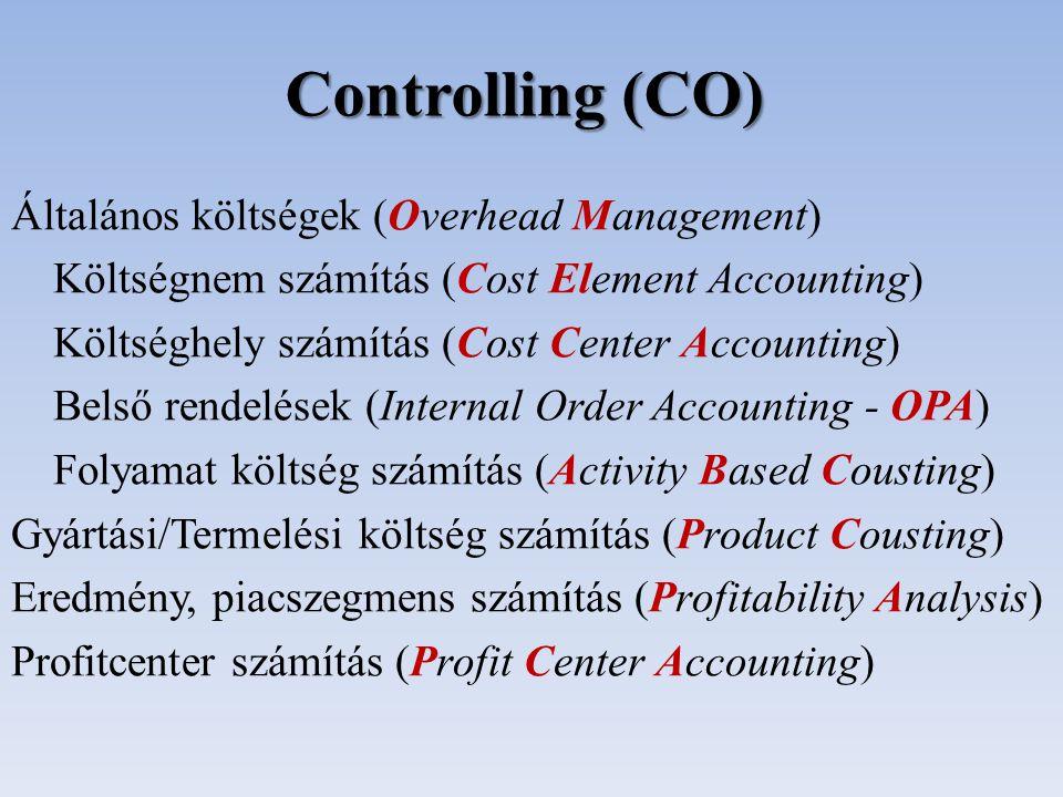 Általános költségek (Overhead Management) Költségnem számítás (Cost Element Accounting) Költséghely számítás (Cost Center Accounting) Belső rendelések