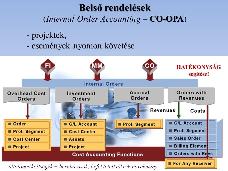 Belső rendelések CO-OPA (Internal Order Accounting – CO-OPA) - projektek, - események nyomon követése HATÉKONYSÁGsegítése! általános költségek + beruh
