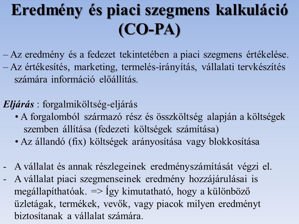 Eredmény és piaci szegmens kalkuláció (CO-PA) – Az eredmény és a fedezet tekintetében a piaci szegmens értékelése. – Az értékesítés, marketing, termel