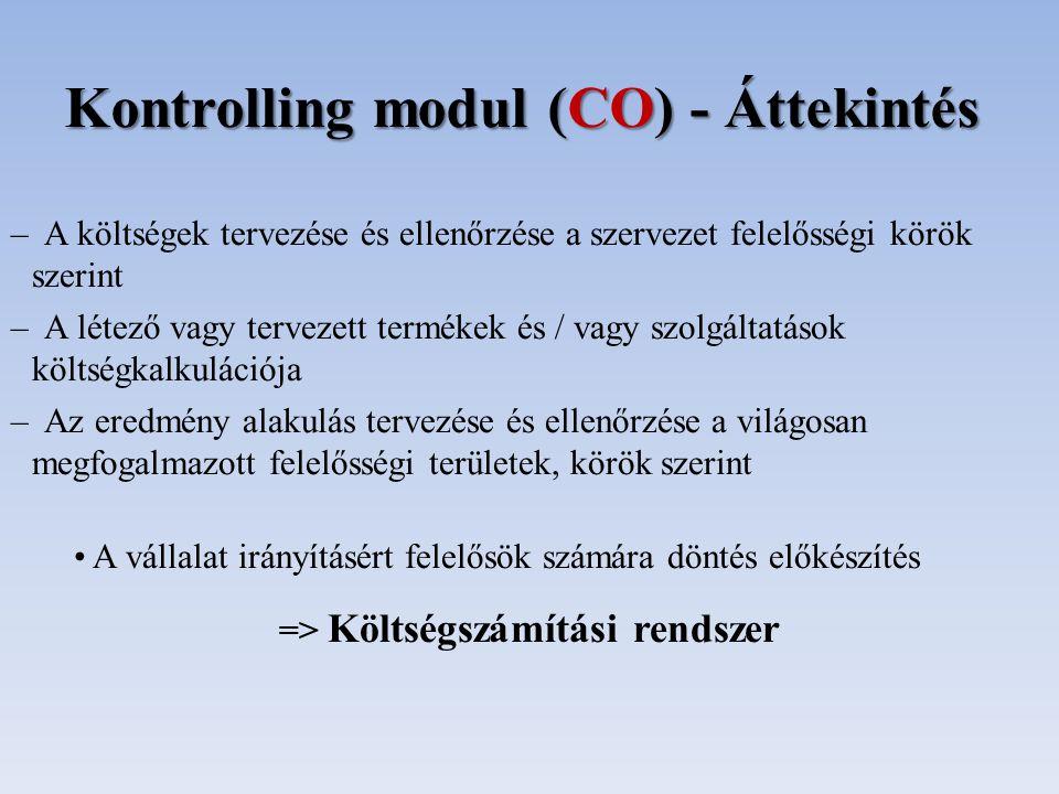 Kontrolling modul (CO) - Áttekintés – A költségek tervezése és ellenőrzése a szervezet felelősségi körök szerint – A létező vagy tervezett termékek és