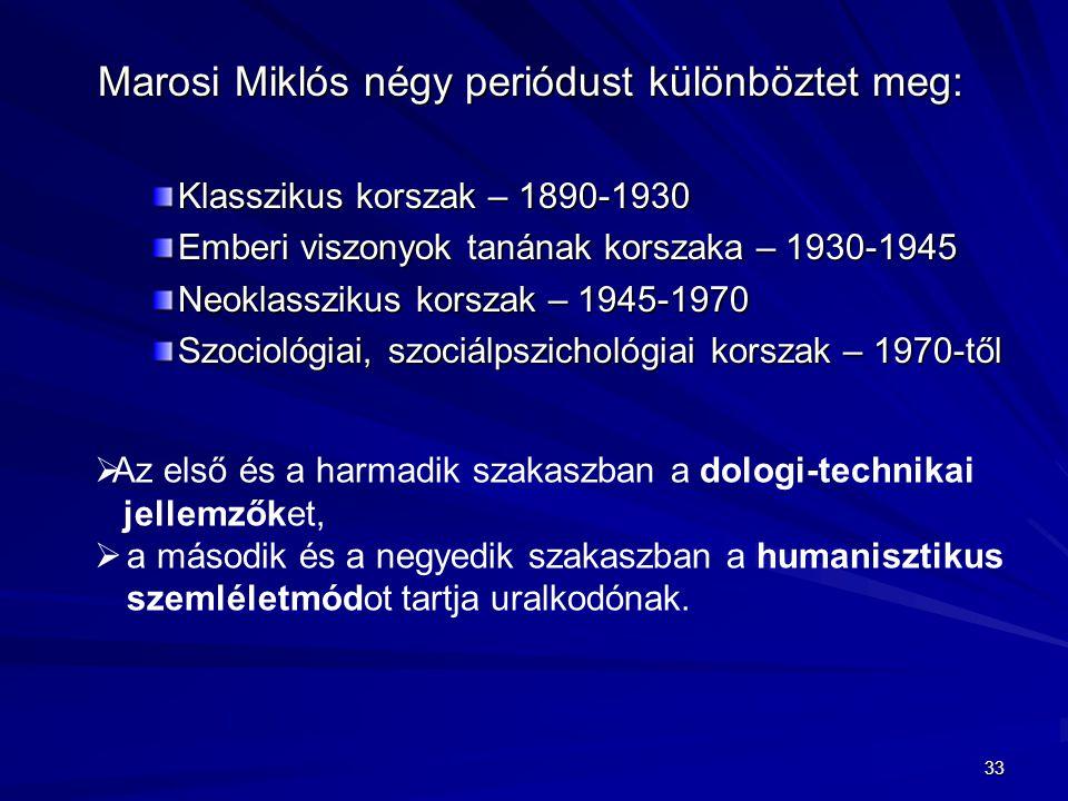 Marosi Miklós négy periódust különböztet meg: Klasszikus korszak – 1890-1930 Emberi viszonyok tanának korszaka – 1930-1945 Neoklasszikus korszak – 194