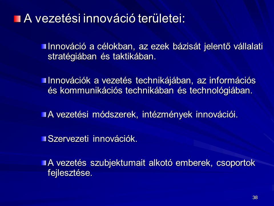 A vezetési innováció területei: Innováció a célokban, az ezek bázisát jelentő vállalati stratégiában és taktikában. Innovációk a vezetés technikájában