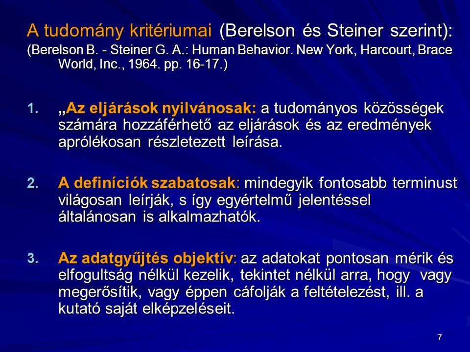 A tudomány kritériumai (Berelson és Steiner szerint): (Berelson B. - Steiner G. A.: Human Behavior. New York, Harcourt, Brace World, Inc., 1964. pp. 1