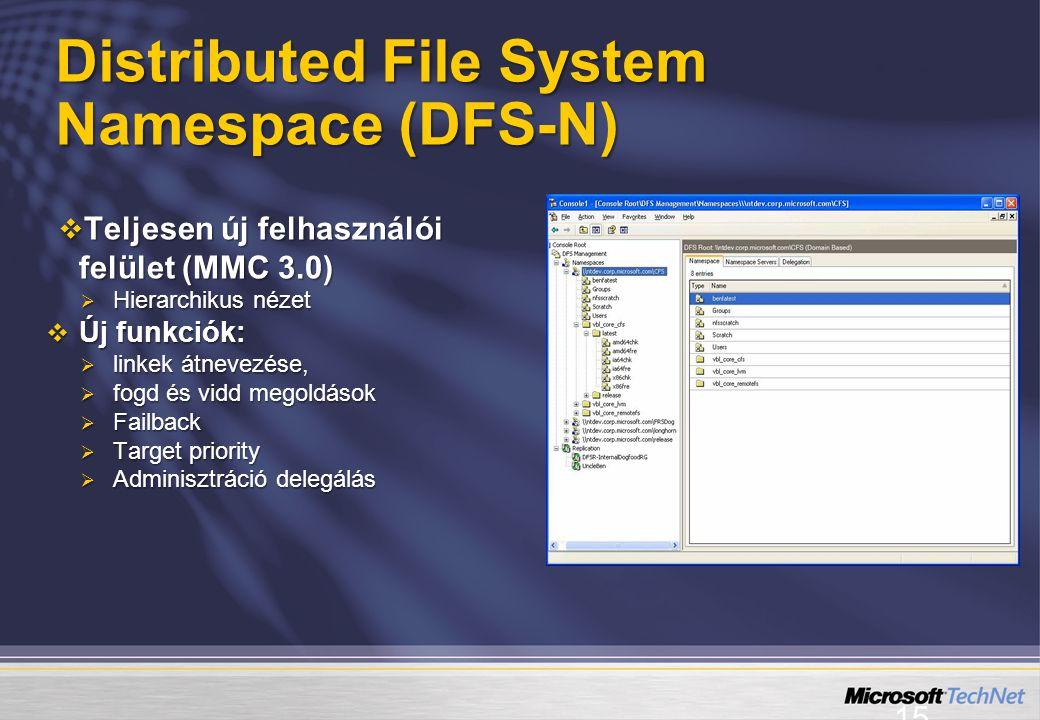 15  Teljesen új felhasználói felület (MMC 3.0)  Hierarchikus nézet  Új funkciók:  linkek átnevezése,  fogd és vidd megoldások  Failback  Target priority  Adminisztráció delegálás Distributed File System Namespace (DFS-N)