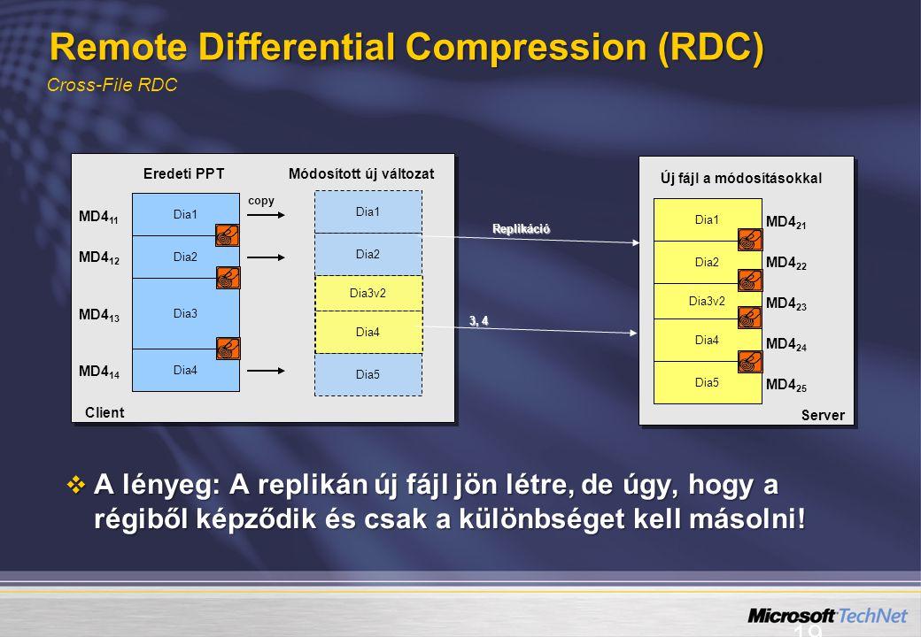 19 Cross-File RDC Remote Differential Compression (RDC) Eredeti PPT Módosított új változat Dia1 Dia2 Dia5 copy Client MD4 11 MD4 12 MD4 13 MD4 14 Dia1 Dia2 Dia3 Dia4 Dia3v2 Dia4 Server MD4 21 MD4 22 MD4 23 MD4 24 MD4 25 Dia1 Dia2 Dia3v2 Dia5 Dia4 3, 4 3, 4 Replikáció  A lényeg: A replikán új fájl jön létre, de úgy, hogy a régiből képződik és csak a különbséget kell másolni.