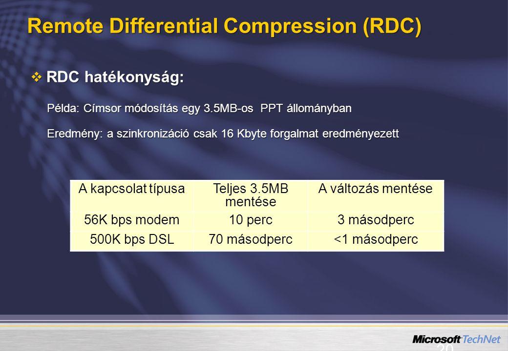 20  RDC hatékonyság: Példa: Címsor módosítás egy 3.5MB-os PPT állományban Eredmény: a szinkronizáció csak 16 Kbyte forgalmat eredményezett A kapcsola