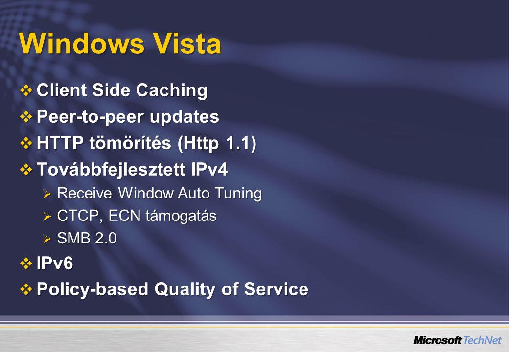 Windows Vista  Client Side Caching  Peer-to-peer updates  HTTP tömörítés (Http 1.1)  Továbbfejlesztett IPv4  Receive Window Auto Tuning  CTCP, ECN támogatás  SMB 2.0  IPv6  Policy-based Quality of Service