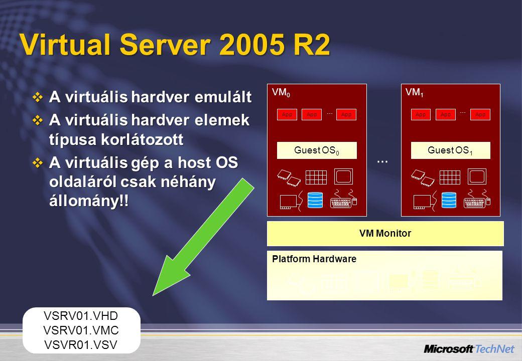 Virtual Server 2005 R2  A virtuális hardver emulált  A virtuális hardver elemek típusa korlátozott  A virtuális gép a host OS oldaláról csak néhány
