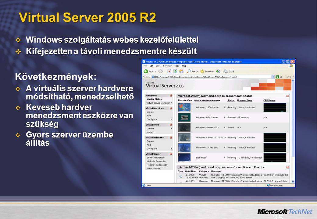 35 Virtual Server 2005 R2  Windows szolgáltatás webes kezelőfelülettel  Kifejezetten a távoli menedzsmentre készült Következmények:  A virtuális szerver hardvere módsítható, menedzselhető  Keveseb hardver menedzsment eszközre van szükség  Gyors szerver üzembe állítás