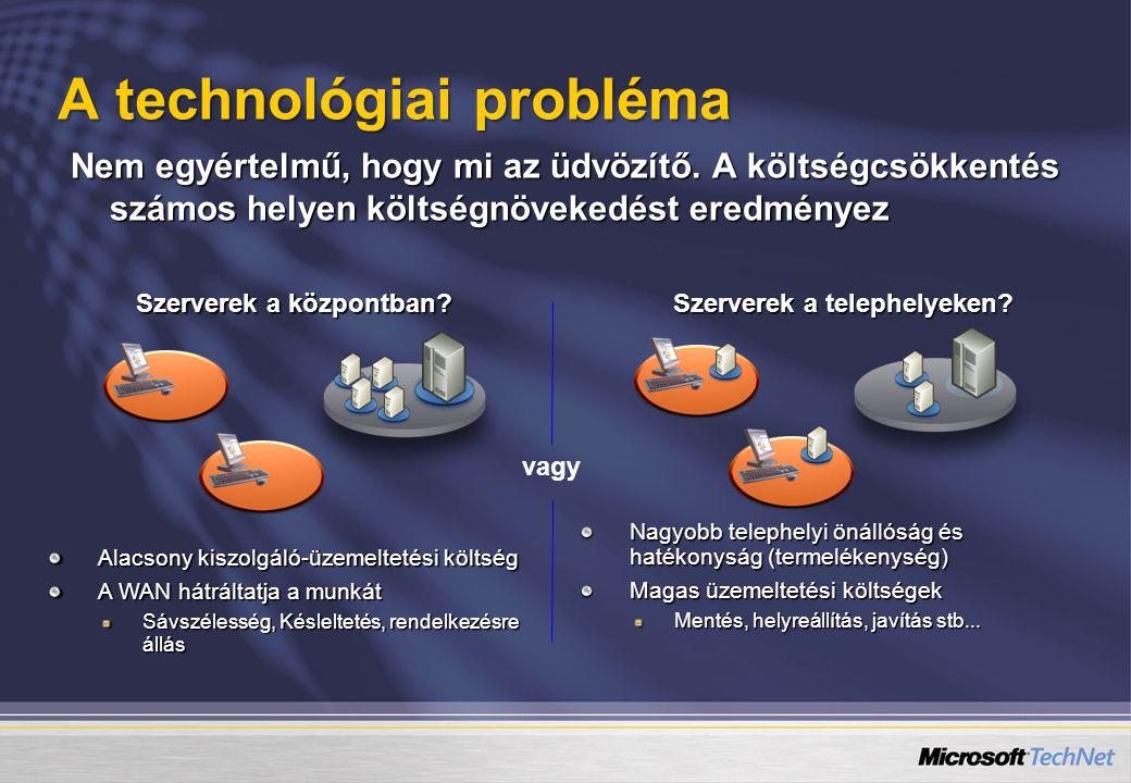 A technológiai probléma Nem egyértelmű, hogy mi az üdvözítő. A költségcsökkentés számos helyen költségnövekedést eredményez Szerverek a központban? Al
