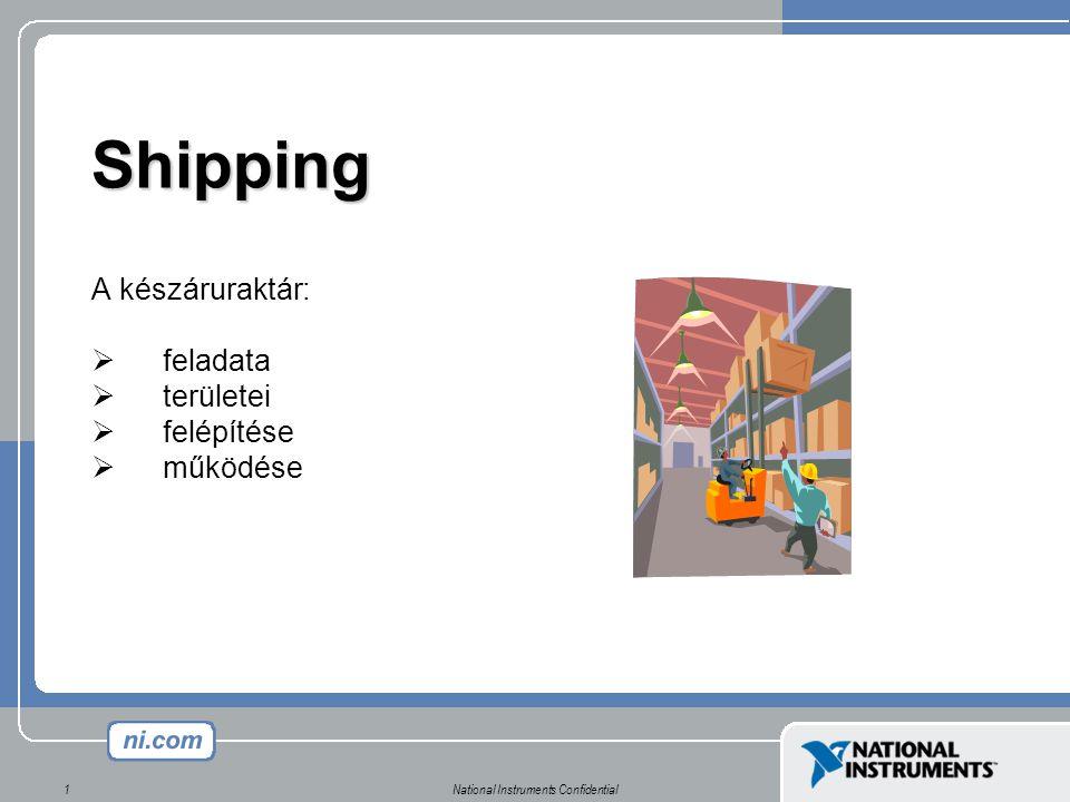 National Instruments Confidential1 Shipping A készáruraktár:  feladata  területei  felépítése  működése