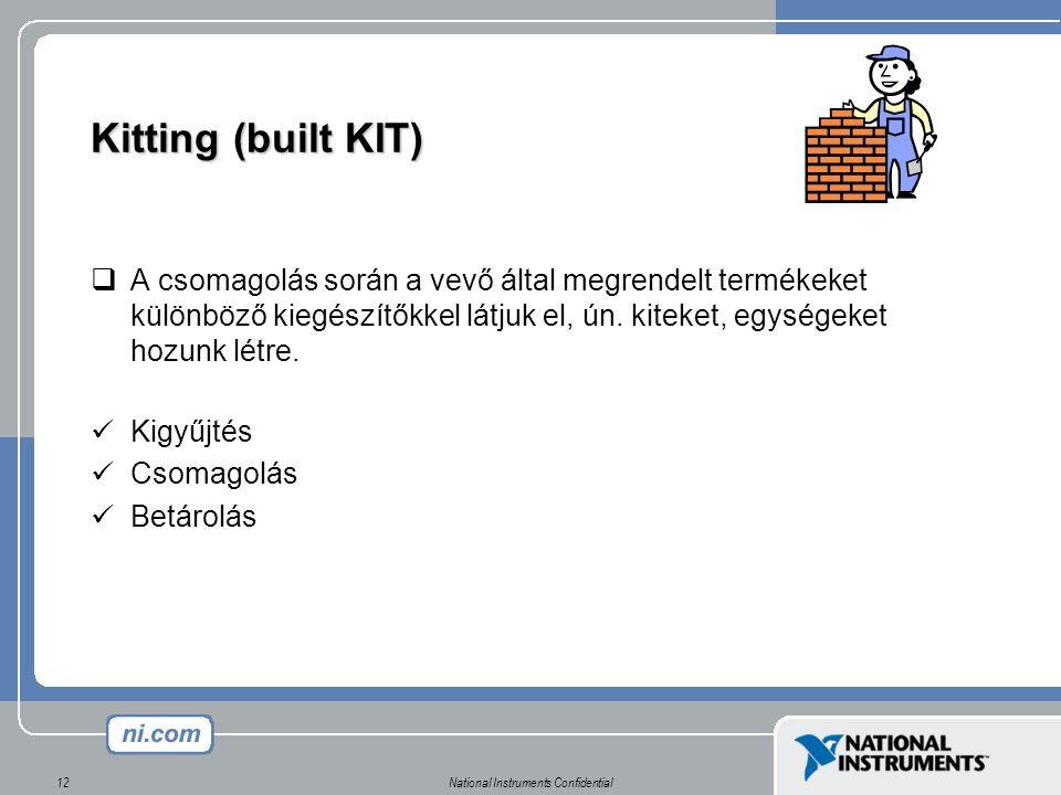 National Instruments Confidential12 Kitting (built KIT)  A csomagolás során a vevő által megrendelt termékeket különböző kiegészítőkkel látjuk el, ún.