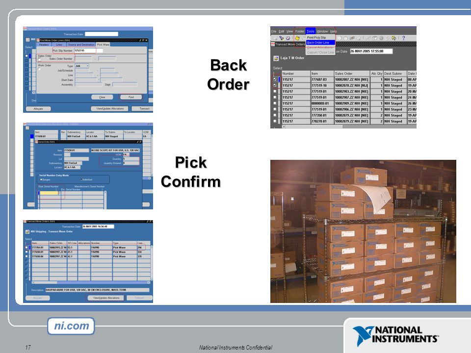 National Instruments Confidential17 Pick Confirm Back Order