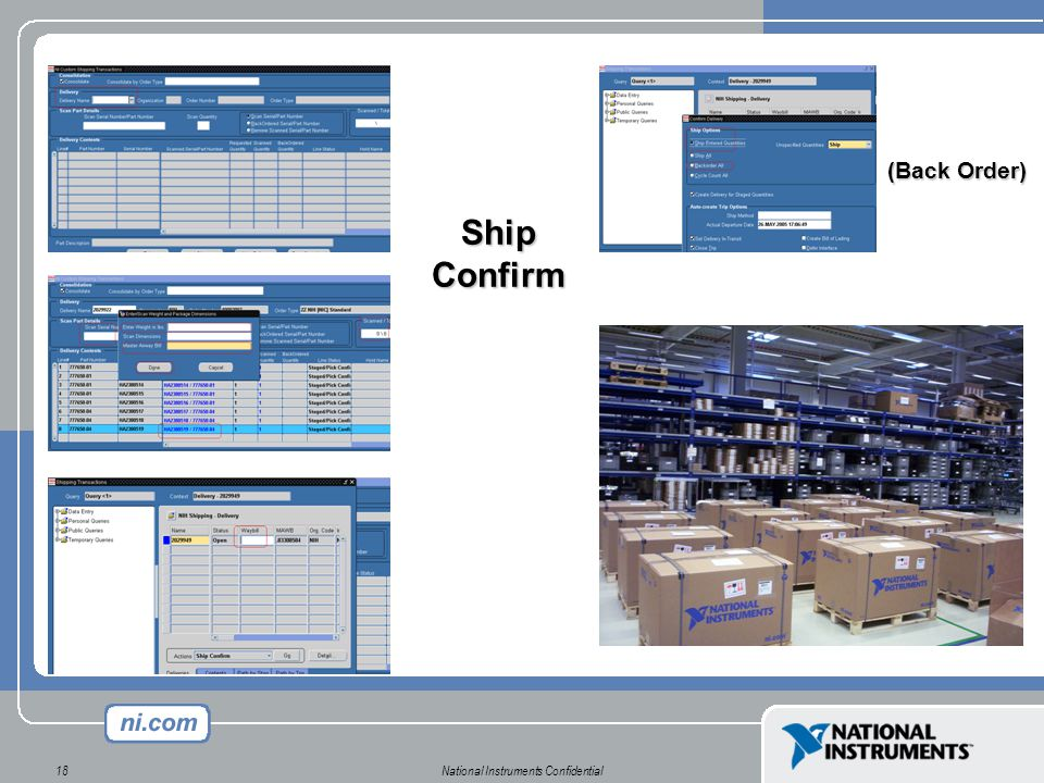 National Instruments Confidential18 Ship Confirm (Back Order)