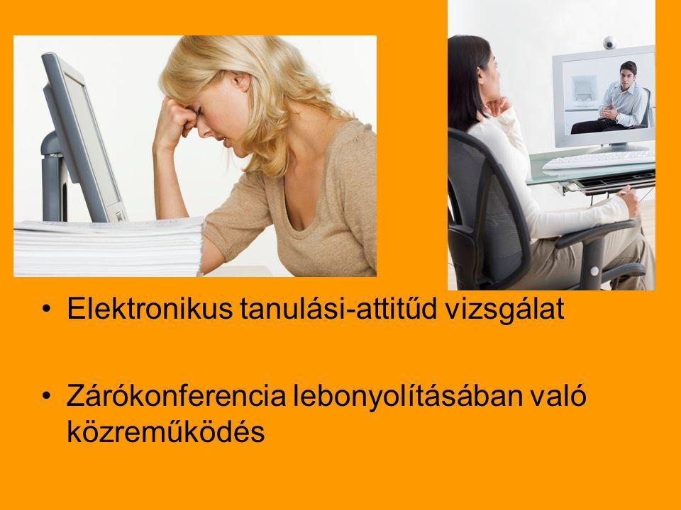 Elektronikus tanulási-attitűd vizsgálat Zárókonferencia lebonyolításában való közreműködés