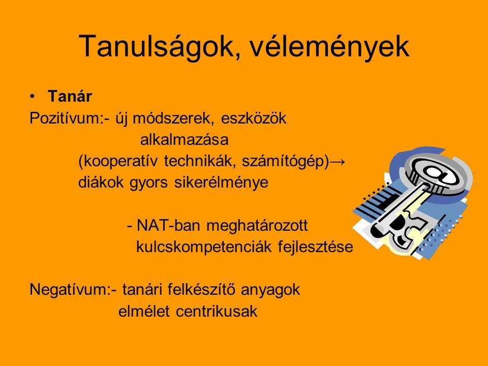 Tanulságok, vélemények Tanár Pozitívum:- új módszerek, eszközök alkalmazása (kooperatív technikák, számítógép)→ diákok gyors sikerélménye - NAT-ban me