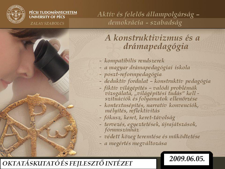 A konstruktivizmus és a drámapedagógia - kompatibilis rendszerek - a magyar drámapedagógiai iskola - poszt-reformpedagógia - deduktív fordulat – konst