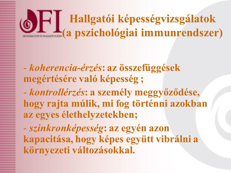 Hallgatói képességvizsgálatok (a pszichológiai immunrendszer) - koherencia-érzés: az összefüggések megértésére való képesség ; - kontrollérzés: a szem