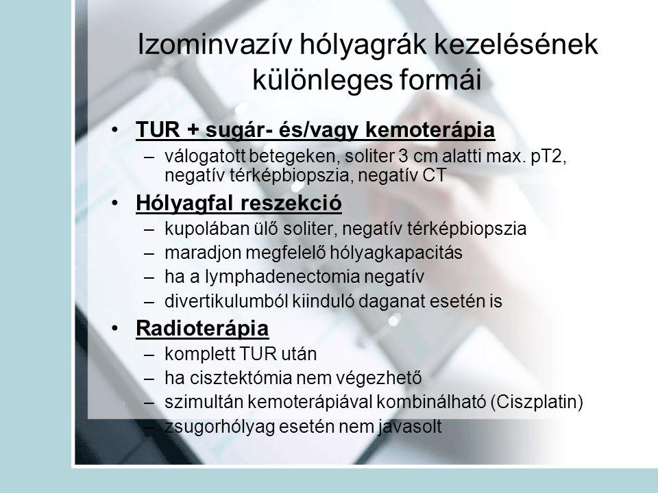 Izominvazív hólyagrák kezelésének különleges formái TUR + sugár- és/vagy kemoterápia –válogatott betegeken, soliter 3 cm alatti max. pT2, negatív térk